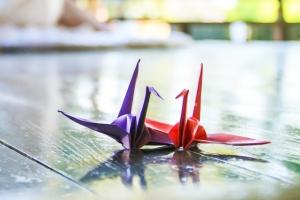 二羽の折鶴画像