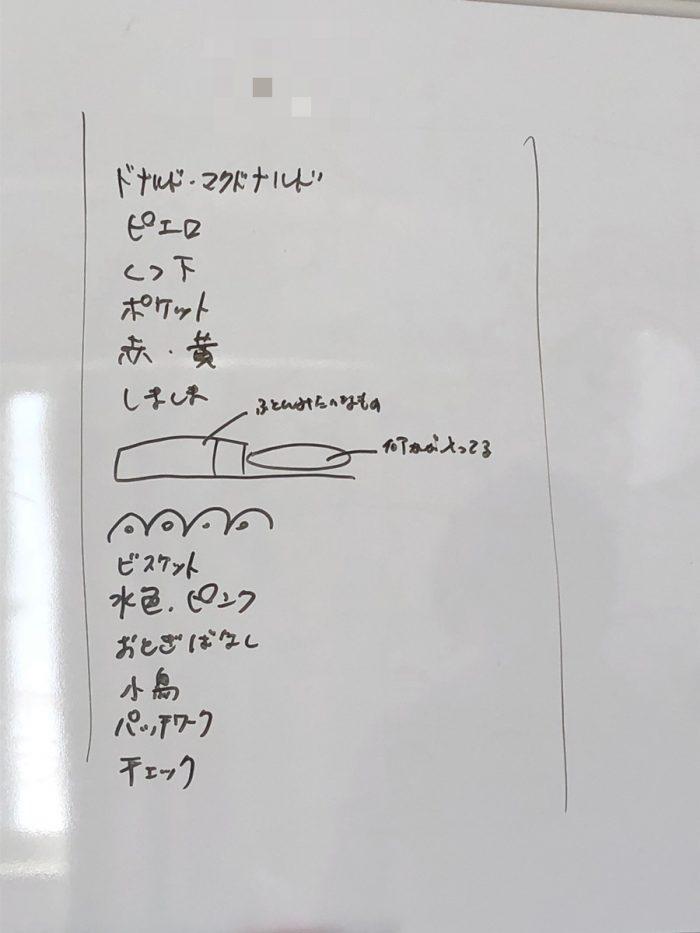 サイコメトリー実習でホワイトボードに書いたキーワード